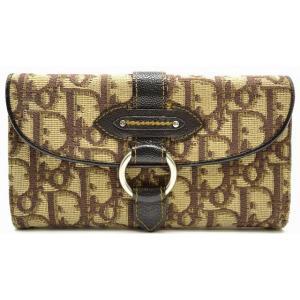 (財布)Christian Dior クリスチャンディオール トロッター Wホック長財布 ダブルホック 茶 ブラウン 01-LU-1015(k) blumin