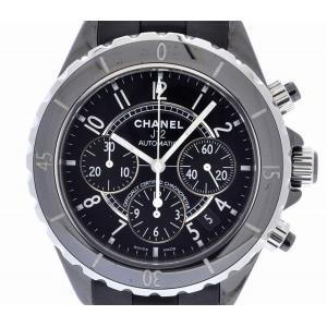 (ウォッチ) CHANEL シャネル J12 クロノグラフ ブラック セラミックベゼル ラバーブレス 黒 41mm メンズ AT オートマ 腕時計 H0939(k)|blumin