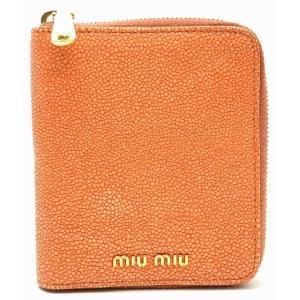 (財布)MIUMIU ミュウミュウ 2つ折財布 ランドファスナー 型押し オレンジ(u) blumin