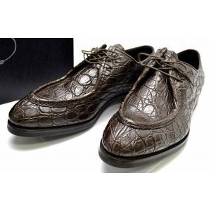 (靴)PRADA プラダ クロコダイル ビジネスシューズ 茶 ダークブラウン #81/2 2E1652(u)|blumin