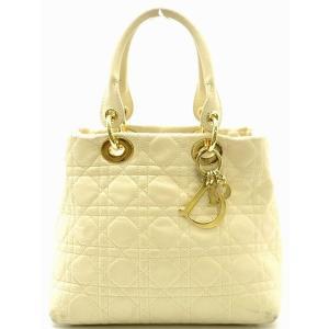 (バッグ)Christian Dior クリスチャンディオール カナージュ レディディオール ハンドバッグ アイボリー ゴールド金具(k) blumin