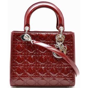(バッグ)Christian Dior クリスチャンディオール レディディオール カナージュ トートバッグ ショルダーバッグ ハンドバッグ パテント 赤 レッド(u) blumin