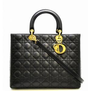 (バッグ)Christian Dior クリスチャンディオール カナージュ レディディオール 2WAYハンドバッグ 黒 ブラック ゴールド金具(k) blumin