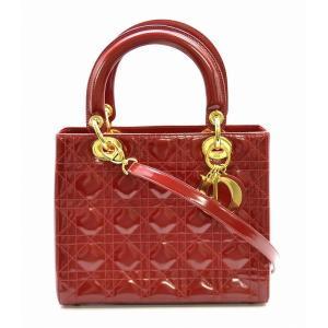 (バッグ)Christian Dior クリスチャンディオール レディディオール カナージュ 2WAY ハンドバッグ ショルダーバッグ 赤 レッド ゴールド金具(k) blumin