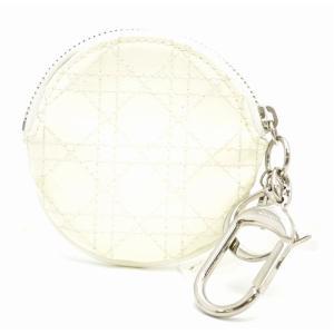(財布)Christian Dior クリスチャンディオール レディディオール カナージュ コインケース 小銭入れ パテントレザー 白 ホワイト(u) blumin