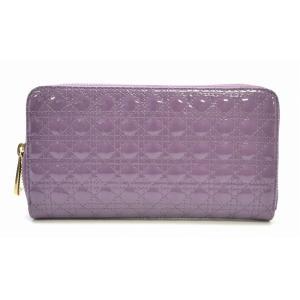 (財布)Christian Dior クリスチャンディオール カナージュ ラウンドファスナー 長財布 紫 パープル S0047 OAVM297(k) blumin