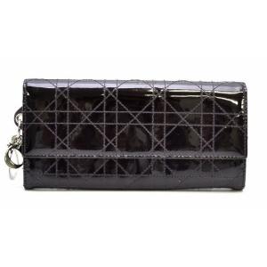 (財布)Christian Dior クリスチャンディオール レディディオール カナージュ 2つ折長財布 紫 ダークパープル ロゴチャーム付 パテントレザー(k) blumin
