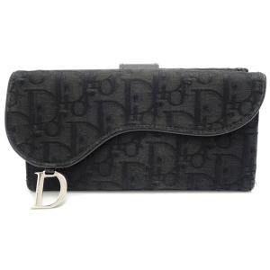 (財布)Christian Dior クリスチャンディオール トロッター Wホック長財布 ダブルホック キャンバス 黒 ブラック(u) blumin