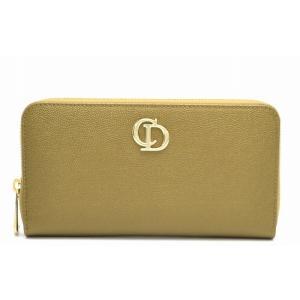 (財布)Christian Dior クリスチャンディオール ラウンドファスナー 長財布 カーキゴールド(u) blumin