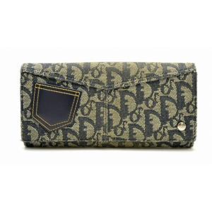 (財布)Christian Dior クリスチャンディオール トロッター柄 長財布 キャンバス レザー 紺 ネイビー(u) blumin