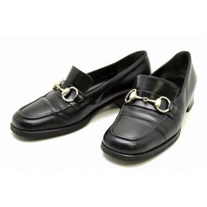 (靴)GUCCI グッチ レディース ビットローファー ホースビット レザー 黒 ブラック シルバー金具 サイズ#3.1/2 22.5cm(u)|blumin