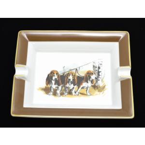 HERMES エルメス アッシュトレイ 灰皿 犬柄 ドッグモチーフ スタンド付 磁器 ポーセリン リモージュ焼き 白 ホワイト ブラウン(u)|blumin
