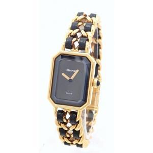 (ウォッチ)CHANEL シャネル プルミエール Lサイズ ブラック文字盤 ゴールドメッキ GP レディース QZ クォーツ 腕時計 H0001(u)|blumin