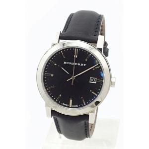 (ウォッチ)BURBERRY バーバリー シティ デイト ブラック文字盤 SS レザー革ベルト メンズ QZ クォーツ 腕時計 BU9009 (u) blumin