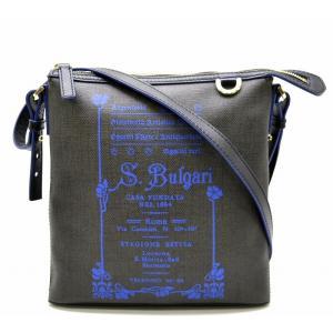 (バッグ)BVLGARI ブルガリ コレツィオーネ ショルダーバッグ 斜め掛け ロゴプリント 黒 ブラック チャコールブラウン 青 ブルー 32522(k)|blumin
