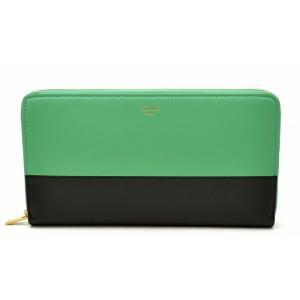 (財布)CELINE セリーヌ ラウンドファスナー 長財布 レザー バイカラー グリーン ブラック 緑 黒 103983XTM(k)|blumin