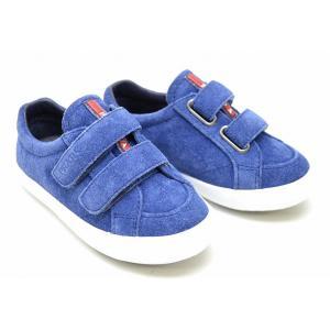 (靴)PRADA プラダ ベビーシューズ 子供靴 スエード 青 ブルー ベルクロタイプ #23 14.0cm 0P0541(k)|blumin