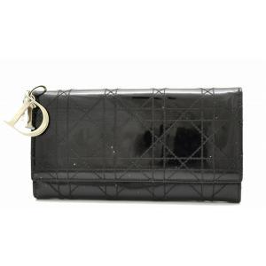 (財布)Christian Dior クリスチャン ディオール レディディオール カナージュ 長財布 ロゴ チャーム 黒 ブラック(k) blumin