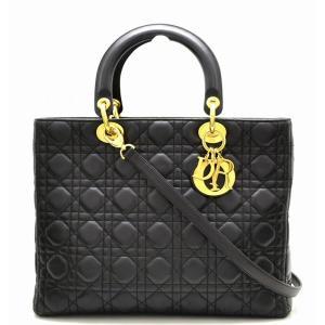 (バッグ)Christian Dior クリスチャン ディオール カナージュ レディディオール ハンドバッグ 2WAY ショルダーバッグ 黒 ブラック ゴールド金具(u) blumin