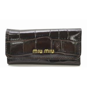 Miu Miu ミュウ ミュウ 6連 キーケース 型押しレザー ST.COCCO LUX 茶 ダークブラウン BRUCIATO 5M0223(k) blumin