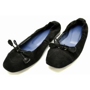 (靴)HERMES エルメス フラットシューズ バレエシューズ ラウンドトゥ シャーリング ヌバック 黒 ブラック #351/2(u)|blumin