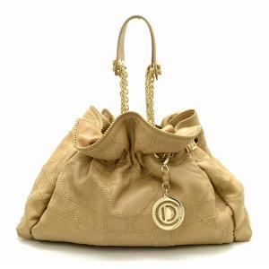 (バッグ)Christian Dior クリスチャン ディオール ルトラント チェーンショルダー カナージュ ハンドバッグ トートバッグ レザー 茶 ベージュ (u) blumin