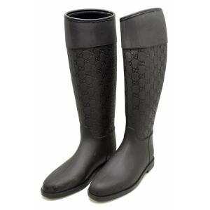 (靴)GUCCI グッチ GG柄 型押し ラバーブーツ レインブーツ サイズ#38 24.0cm ブラック 黒(u)|blumin
