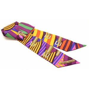 (アパレル)HERMES エルメス トゥイリー ツイリー スカーフ ベルトモチーフ バッグスカーフ バッグアクセサリー シルク100% マルチカラー(k)|blumin