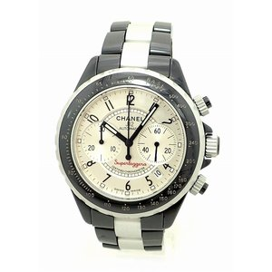 (ウォッチ)CHANEL シャネル J12 スーパーレッジェーラ クロノグラフ デイト シルバー文字盤 セラミック アルミ メンズ AT オートマ 腕時計 H1624(u)|blumin