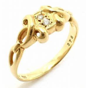 (ジュエリー)Christian Dior クリスチャン ディオール K18 ゴールド リング 指輪 11号 #11 ダイヤモンド ダイヤ2粒(u) blumin
