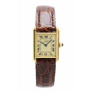 (ウォッチ)Cartier カルティエ マストタンク SM アイボリー文字盤 ヴェルメイユ SV925 GP レディース QZ クォーツ 腕時計 (u)