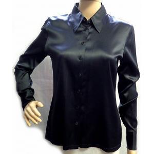 (アパレル)CHANEL シャネル 長袖ブラウス 長袖シャツ ブラック 黒 シルク95% エラスタン5% #40 クリーニング済み(k)|blumin