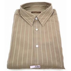 (アパレル)LOUIS VUITTON ルイ ヴィトン Yシャツ メンズ コットン100% ストライプシャツ カーキブラウン #42 クリーニング済(u) blumin