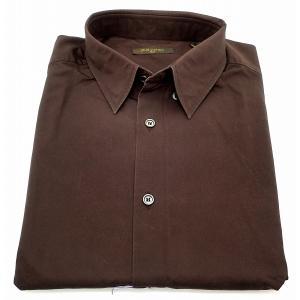 (アパレル)LOUIS VUITTON ルイ ヴィトン Yシャツ メンズ コットン100% 茶 ブラウン #42 クリーニング済(u) blumin