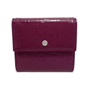 (財布)Christian Dior クリスチャン ディオール アルティメイト ロゴグラム トロッター パテントレザー ダブルホック Wホック 財布 紫 パープル(k) blumin