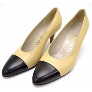 (靴)CHANEL シャネル バイカラー 2トーン パンプス ミドルヒール レザー ベージュ 黒 ブラック サイズ36 1/2E 23cm(k)|blumin