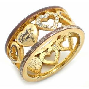 (ジュエリー)COACH コーチ ハート ラインストーン リング 指輪 ワイドタイプ GP メッキ ゴールド金具 (u)|blumin