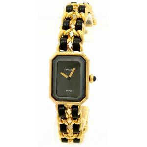 (ウォッチ)CHANEL シャネル プルミエール Sサイズ ブラック文字盤 ゴールドメッキ レディース QZ クォーツ 腕時計 H0001(u)|blumin