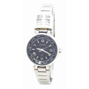 (ウォッチ)CITIZEN シチズン XC クロスシー エコドライブ ソーラー ブラック文字盤 電波時計 ワールドタイム SS レディース 腕時計 EC1010-57E(k) blumin
