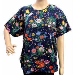 (アパレル)GUCCI グッチ Tシャツ 半袖トップス カットソー フラワー柄 ブルー 青 マルチカラー コットン100% ♯L (u)|blumin