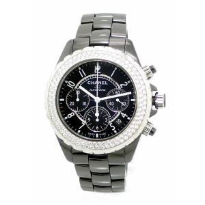 (ウォッチ)CHANEL シャネル J12 クロノグラフ デイト 2重 ダイヤベゼル ブラック セラミック 黒 41mm メンズ AT オートマ 腕時計 H1009 (k)|blumin