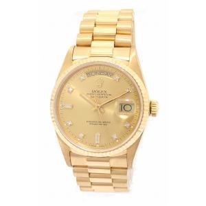 (ウォッチ)ROLEX ロレックス デイデイト 10Pダイヤ シャンパンゴールド文字盤 K18YG 750YG イエローゴールド無垢 9番 メンズ AT オートマ 腕時計 18038A (u) blumin
