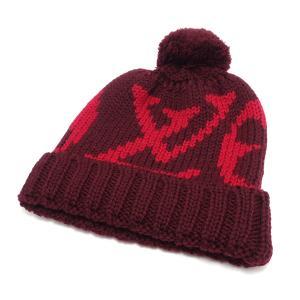 (アパレル)LOUIS VUITTON ルイ ヴィトン ボネ グランフロア ニット帽 帽子 ウール100% ロゴ モノグラムフラワー ルビ レッド ボルドー ボンボン付 M72398(k) blumin
