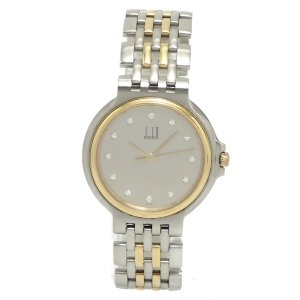 (ウォッチ)dunhill ダンヒル エリート 2ロウ グレーダイアル SS/K18YG ダイヤ 12PD インデックスダイヤ コンビ クォーツ メンズ ボーイズ 腕時計 (u)|blumin