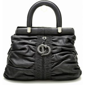 (バッグ)Christian Dior クリスチャン ディオール ハンドバッグ レザー ロゴ チャーム 黒 ブラック (k) blumin
