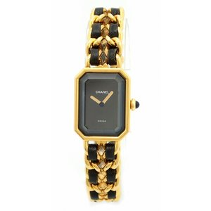 (ウォッチ)CHANEL シャネル プルミエール XLサイズ ブラック文字盤 ゴールドメッキ GP レディース QZ クォーツ 腕時計 ゴールド H0001(u)|blumin