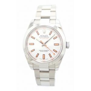 (ウォッチ)ROLEX ロレックス ミルガウス ホワイトダイアル メンズ AT オートマ 腕時計 ルーレット V番 116400(k) blumin