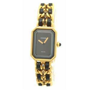 (ウォッチ)CHANEL シャネル プルミエール Lサイズ ブラック文字盤 ゴールドメッキ レディース QZ クォーツ 腕時計 H0001(u)|blumin