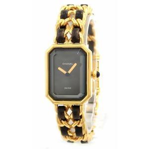 (ウォッチ)CHANEL シャネル プルミエール Mサイズ ブラック文字盤 ゴールドメッキ GP レディース QZ クォーツ 腕時計 ゴールド H0001(k)|blumin