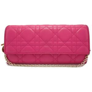 (財布)Christian Dior クリスチャン ディオール レディディオール カナージュ チェーンウォレット レザー 2つ折 長財布 ロゴチャーム ピンク CAL43060P/M362(u) blumin